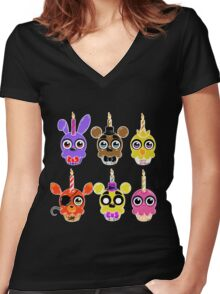 FNAF Cupcakes (6) Women's Fitted V-Neck T-Shirt