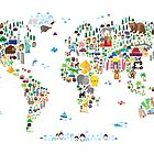 Animal Map of the World for children and kids by ArtPrints