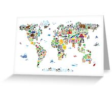 Animal Map of the World for children and kids Greeting Card