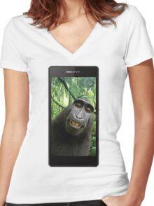 Monkey Selfie Women's Fitted V-Neck T-Shirt