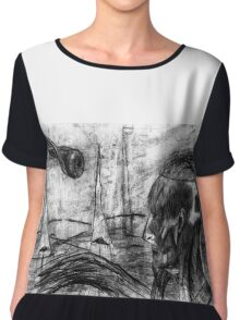 Cyborg Freak Man With Thinning Hair And Eye Creature oddities Surreal Paradise Chiffon Top