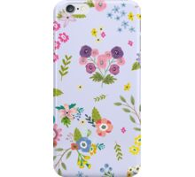 Garden Floral On Powder Blue iPhone Case/Skin