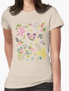 Garden Floral On White Womens Fitted T-Shirt