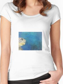 oil paint sea turtle Women's Fitted Scoop T-Shirt