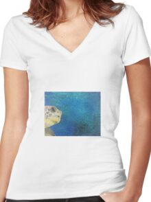 oil paint sea turtle Women's Fitted V-Neck T-Shirt