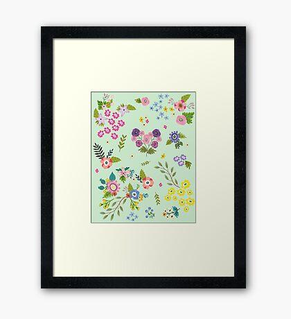 Garden Floral On Mint Green Framed Print