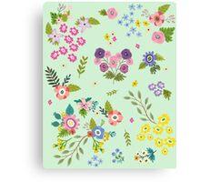 Garden Floral On Mint Green Canvas Print