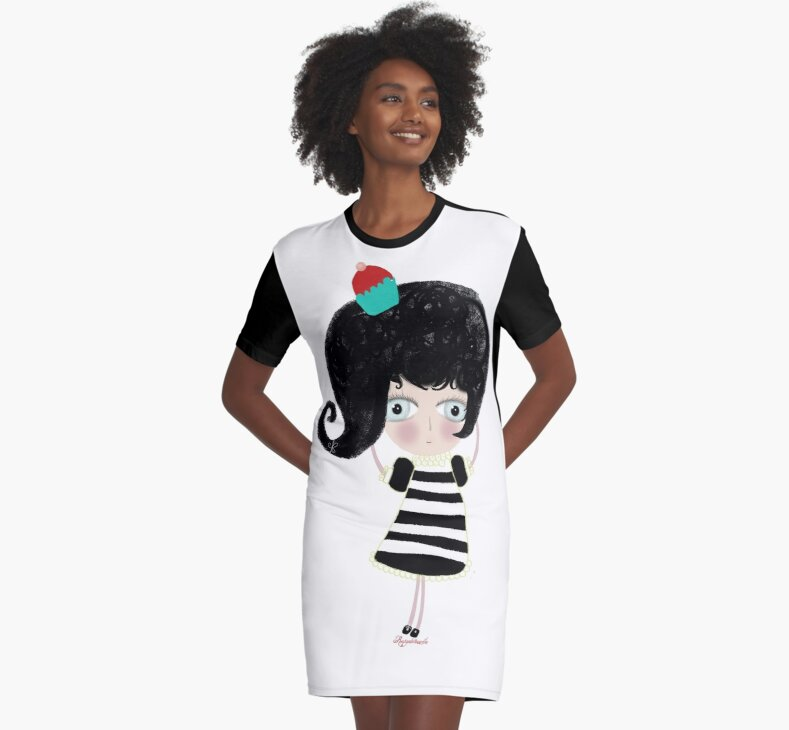 Lovely love Print Illustration Doll surprise Black and white dress black shoes and hair strawberry muffin flavored illustration  by rupydetequila