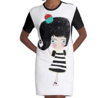 Lovely love Print Illustration Doll surprise Black and white dress black shoes and hair strawberry muffin flavored illustration  Graphic T-Shirt Dress
