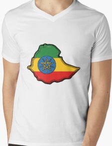 Ethiopia Map with Ethiopian Flag Mens V-Neck T-Shirt