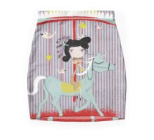 Carousel ribbon striped lighting bugs colorful whimsical streaks magic ride doll print Mini Skirt