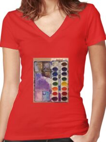 water color pallet  Women's Fitted V-Neck T-Shirt