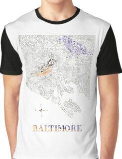 Baltimore City oriole/raven Neighborhood Map Graphic T-Shirt