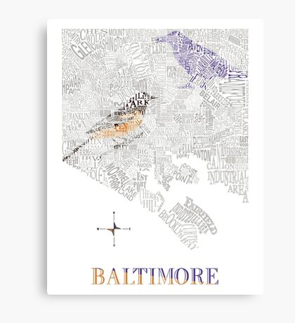 Baltimore City oriole/raven Neighborhood Map Canvas Print