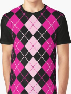 Pink Argyle Design Graphic T-Shirt