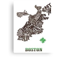 Boston Clover Neighborhoods Map Canvas Print