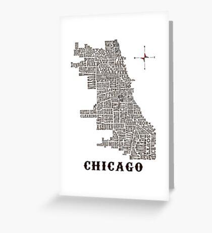 Chicago Neighborhood Map Greeting Card