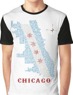 Chicago Flag Neighborhood Map Graphic T-Shirt