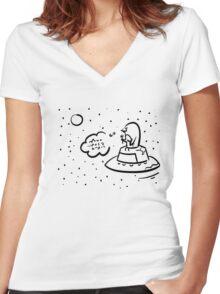 Penguin UFO Women's Fitted V-Neck T-Shirt
