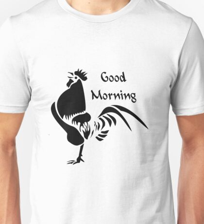 Black Rooster Crowing the Good Morning Alarm Unisex T-Shirt