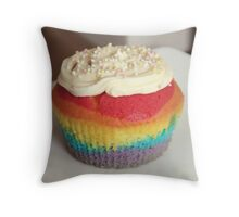 Rainbow cupcake Throw Pillow