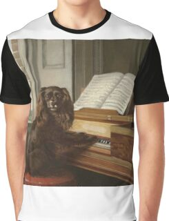 Philip Reinagle - Portrait Of An Extraordinary Musical Dog. Dog painting: cute dog, purebred, musician,  piano,  pianist,  pet,  playing, music,  musical, pianist, childhood Graphic T-Shirt