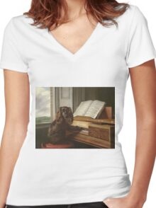 Philip Reinagle - Portrait Of An Extraordinary Musical Dog. Dog painting: cute dog, purebred, musician,  piano,  pianist,  pet,  playing, music,  musical, pianist, childhood Women's Fitted V-Neck T-Shirt