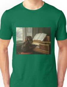 Philip Reinagle - Portrait Of An Extraordinary Musical Dog. Dog painting: cute dog, purebred, musician,  piano,  pianist,  pet,  playing, music,  musical, pianist, childhood Unisex T-Shirt