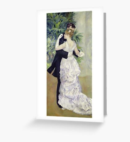 Pierre-Auguste Renoir - Dance In The Cityrenoir. Dancer painting: ballroom, dance, couple, evening dress, costume, ball dance, dancing woman, young , dancers, ball dance,  lovers  Greeting Card