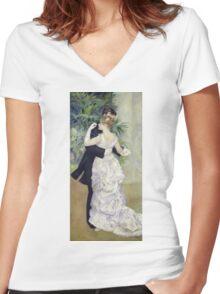 Pierre-Auguste Renoir - Dance In The Cityrenoir. Dancer painting: ballroom, dance, couple, evening dress, costume, ball dance, dancing woman, young , dancers, ball dance,  lovers  Women's Fitted V-Neck T-Shirt