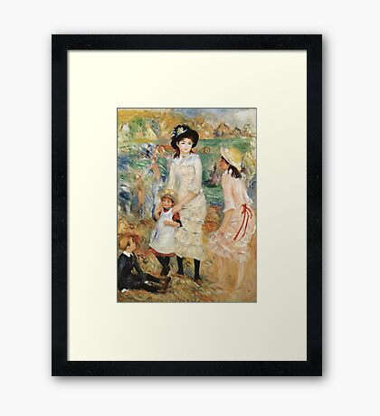 Pierre-Auguste Renoir - Children On The Seashore, Guernsey. Seashore landscape: sea view, children, girl, girls, sisters, boy and girl, boy, dress,  hat, holiday, tenderness Framed Print