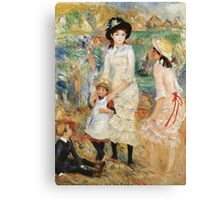 Pierre-Auguste Renoir - Children On The Seashore, Guernsey. Seashore landscape: sea view, children, girl, girls, sisters, boy and girl, boy, dress,  hat, holiday, tenderness Canvas Print