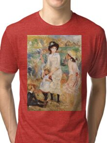 Pierre-Auguste Renoir - Children On The Seashore, Guernsey. Seashore landscape: sea view, children, girl, girls, sisters, boy and girl, boy, dress,  hat, holiday, tenderness Tri-blend T-Shirt