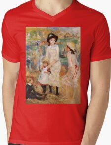 Pierre-Auguste Renoir - Children On The Seashore, Guernsey. Seashore landscape: sea view, children, girl, girls, sisters, boy and girl, boy, dress,  hat, holiday, tenderness Mens V-Neck T-Shirt