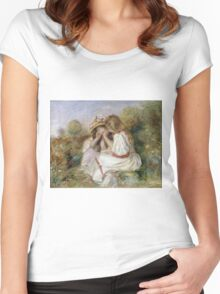 Pierre-Auguste Renoir - Deux Fillettes. Girl portrait:  portrait of two girls, girls, children, hair, hat, beautiful dress, holiday, rose, garden, young , childhood Women's Fitted Scoop T-Shirt