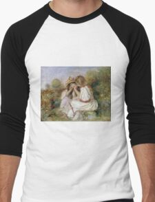 Pierre-Auguste Renoir - Deux Fillettes. Girl portrait:  portrait of two girls, girls, children, hair, hat, beautiful dress, holiday, rose, garden, young , childhood Men's Baseball ¾ T-Shirt