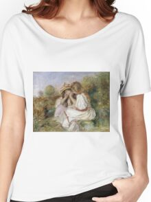 Pierre-Auguste Renoir - Deux Fillettes. Girl portrait:  portrait of two girls, girls, children, hair, hat, beautiful dress, holiday, rose, garden, young , childhood Women's Relaxed Fit T-Shirt