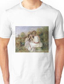 Pierre-Auguste Renoir - Deux Fillettes. Girl portrait:  portrait of two girls, girls, children, hair, hat, beautiful dress, holiday, rose, garden, young , childhood Unisex T-Shirt