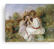 Pierre-Auguste Renoir - Deux Fillettes. Girl portrait:  portrait of two girls, girls, children, hair, hat, beautiful dress, holiday, rose, garden, young , childhood Canvas Print