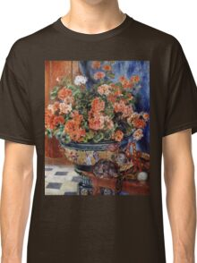 Pierre-Auguste Renoir - Geraniums And Cats. Still life with flowers: still life with flowers,  flower arrangement, blossom,  flowers, Geraniums,  pot , china,  passion,  bowl, cats, ball of wool Classic T-Shirt
