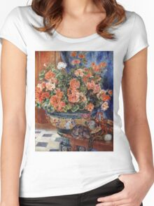 Pierre-Auguste Renoir - Geraniums And Cats. Still life with flowers: still life with flowers,  flower arrangement, blossom,  flowers, Geraniums,  pot , china,  passion,  bowl, cats, ball of wool Women's Fitted Scoop T-Shirt