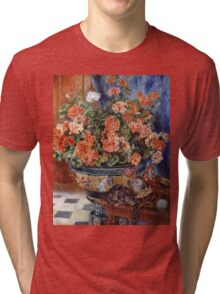 Pierre-Auguste Renoir - Geraniums And Cats. Still life with flowers: still life with flowers,  flower arrangement, blossom,  flowers, Geraniums,  pot , china,  passion,  bowl, cats, ball of wool Tri-blend T-Shirt