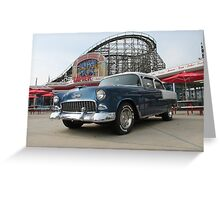 A Cool Classic Car And A Coaster Greeting Card