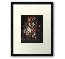 Rachel Ruysch - Flowers In A Glass Vase. Still life with flowers:  bouquet, flowers, bumblebee , carnations, peonies, roses, tulips,  marigolds,  life, garden, blossom Framed Print