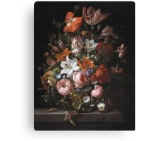 Rachel Ruysch - Flowers In A Glass Vase. Still life with flowers:  bouquet, flowers, bumblebee , carnations, peonies, roses, tulips,  marigolds,  life, garden, blossom Canvas Print