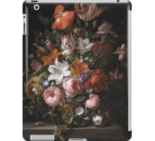 Rachel Ruysch - Flowers In A Glass Vase. Still life with flowers:  bouquet, flowers, bumblebee , carnations, peonies, roses, tulips,  marigolds,  life, garden, blossom iPad Case/Skin