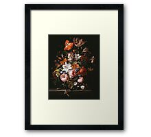 Rachel Ruysch - Flowers In A Glass Vase1704 . Still life with flowers:  bouquet, flowers, bumblebee , carnations, peonies, roses, tulips,  marigolds,  life, garden, blossom Framed Print