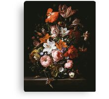 Rachel Ruysch - Flowers In A Glass Vase1704 . Still life with flowers:  bouquet, flowers, bumblebee , carnations, peonies, roses, tulips,  marigolds,  life, garden, blossom Canvas Print