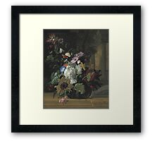 Rachel Ruysch - Vase Of Flowers. Still life with flowers:  bouquet, flowers, bumblebee , carnations, peonies, roses, tulips,  marigolds,  life, garden, blossom Framed Print