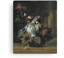 Rachel Ruysch - Vase Of Flowers. Still life with flowers:  bouquet, flowers, bumblebee , carnations, peonies, roses, tulips,  marigolds,  life, garden, blossom Canvas Print